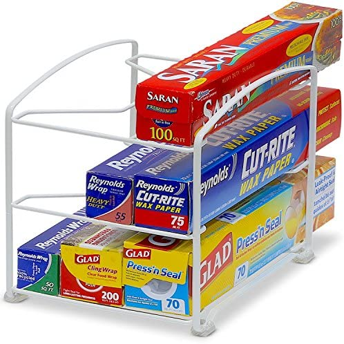 SimpleHouseware Kitchen Wrap Organizer Rack, White