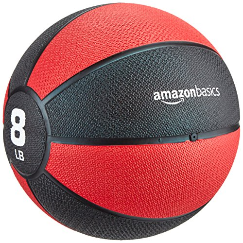AmazonBasics Workout Fitness Exercise Weighted Medicine Ball - 8 Pounds, Red and Black
