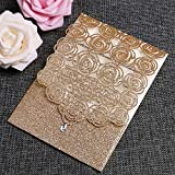 FEIYI 25PCS Laser Cut Invitations Cards Luxury Diamond Gloss Design with Pearl Paper Insert for Wedding, Bridal Shower, Engagement Birthday Graduation Invite (Gold Glitter)