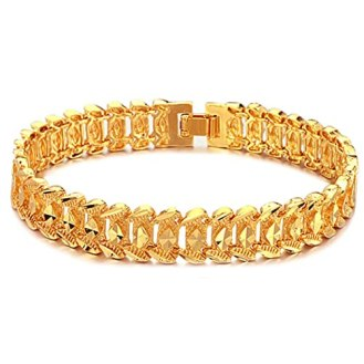Image result for Suyi Men's 18K Gold Plated Link Bracelet Classic Carving Wrist Chain Link Bangle