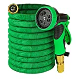 Garden Hose - Expandable 50ft Water Hose with Solid Brass Connectors , Triple Latex Core | 9-Pattern Spray Nozzle + Storage Bag | Strong, Flexible Garden, Lawn, Pet Shower, Plant Watering Hose