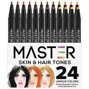 24 Color Master Markers Skin & Hair Tones Dual Tip Set – Double-Ended Art Markers with Chisel Point and Standard Brush Tip – Soft Grip Barrels – Flesh, Face, Manga, Portrait, Illustration, Sketch