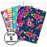 Pocket Notebook/Pocket Journal - 5'x8' - Assorted Patterns - Lined Memo Field Note Book - Pack of 5