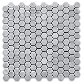 Carrara White Italian Carrera Marble Hexagon Mosaic Tile 1 inch Honed - Stone Center Online