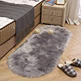 LEEVAN Super Soft Bedroom Rug Faux Fur Wool Oval Carpet Fluffy Shaggy Kids Play Mat Girls Runner Area Rug for Sofa Floor or Living Room Accent Home Decorate(Light Grey,2ft x 5.3ft)