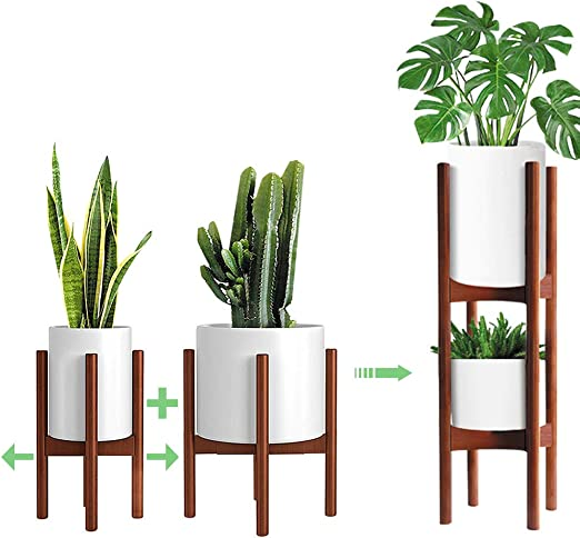 Mudeela 2 Pack Indoor Plant Stands 2 Tier Tall 76cm Mid Century Modern Wood Plant Stand Adjustable Width 20cm To 30cm Pot Plant Not Included Brown Amazon Co Uk Garden Outdoors