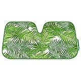 BDK Tropical Leaves Auto Windshield Sun Shade for Car SUV Truck - Balmy Fern - Double Bubble Foil Jumbo Folding Accordion - AS-768
