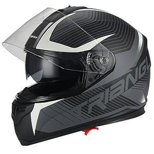 Full Face Matte White Dual Visor Street Bike Motorcycle Helmet for Triangle