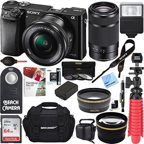 Alpha a6000 Interchangeable Camera 16-50mm & 55-210mm Zoom Lens Kit Grey