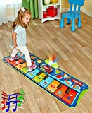 Fun Step-to-Play Junior Battery Operated Piano Mat with Flashing Lights and 20 Demo Songs for Kids Ages 2+