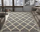 Ottomanson Collection shag Trellis Area Rug, 5'3'X7'0', Grey