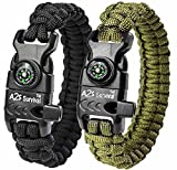 A2S Paracord Bracelet K2-Peak - Survival Gear Kit with Embedded Compass, Fire Starter, Emergency Knife & Whistle - Pack of 2 - Slim Buckle Design Hiking Gear (Black/Green 8.5')