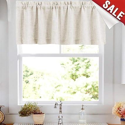Valances Window Treatments Linen Textured Valances For Kitchen Windows Rod Pocket Rustic Crude Valance Curtains