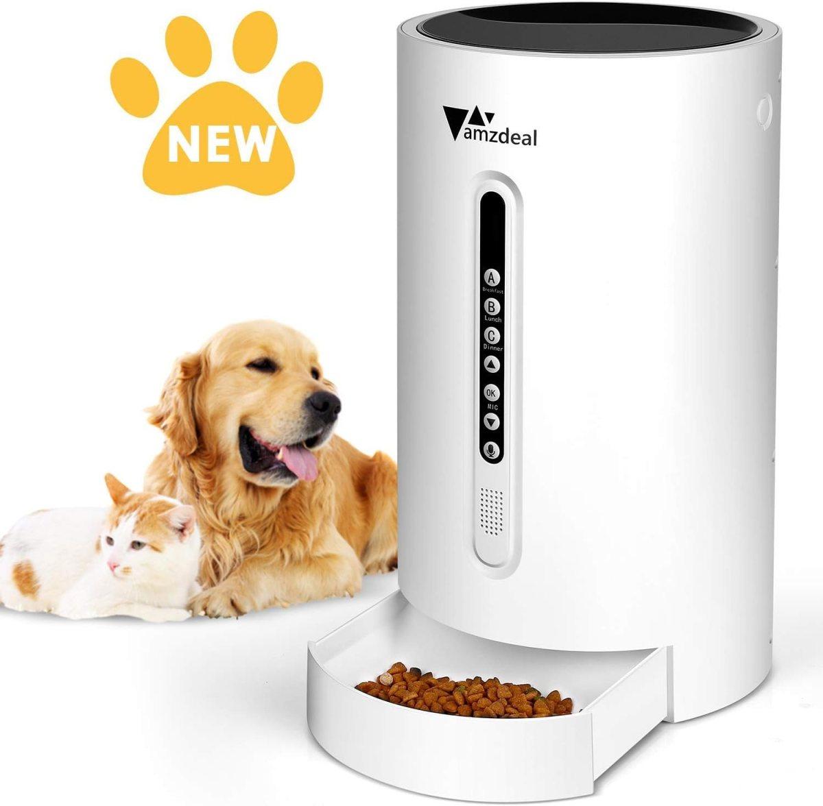 Amzdeal Comedero Automático para Perros Gatos - Dispensador de Comida 4,6 L con Temporizador Programable, Grabación de 16 Segundos y Sensor de Infrarrojos, Pantalla LCD, 4 Comidas al Día para Mascotas