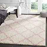 Safavieh Dallas Shag Collection SGD257P Ivory and Light Pink Area Rug (8' x 10')