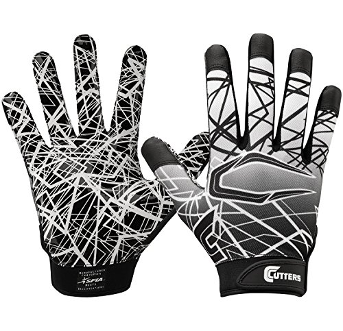 Cutters Gloves S150 Game Day Receiver Gloves, Black, Youth Small