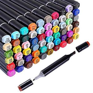 60 Colors Alcohol Dual Tip Art Markers, Permanent Marker Pen Highlighter, Suitable for Beginners Adult Children Coloring…