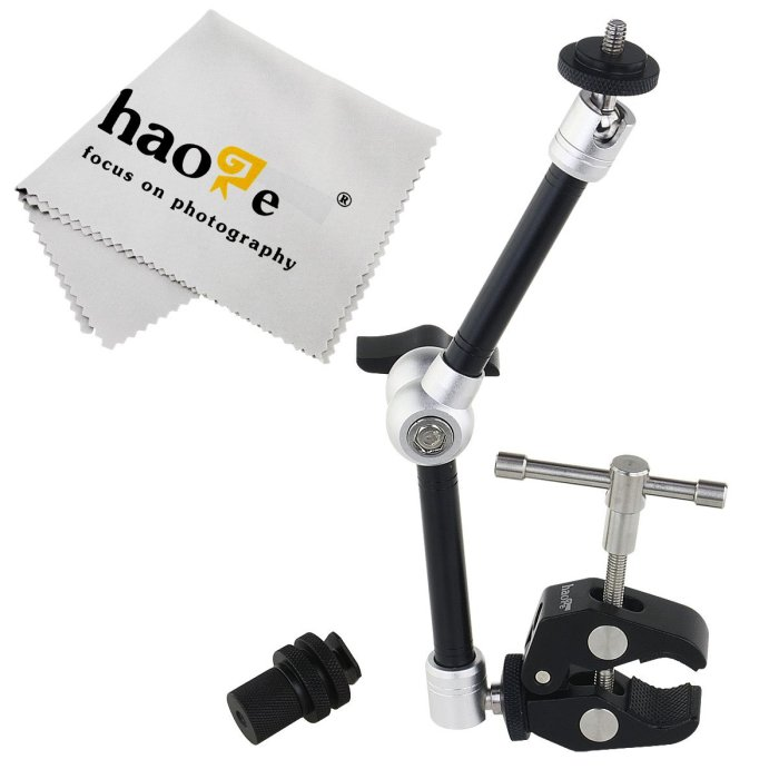 Amazon.com : Haoge 11 inch Articulating Friction Magic Arm We use this to attach our projector in the bus to our valance.