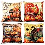 TERUNPU 4pcs Fall Pillow Covers Thanksgiving Decorative Cotton Linen Turkey Pumpkin Throw Pillow Case Cushion Cover for Couch 18x18 Inches