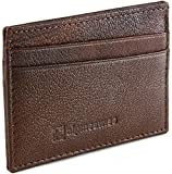 Alpine Swiss Front Pocket Wallet Minimalist Super Thin 5 Card Wallet Genuine Leather Antique BRN