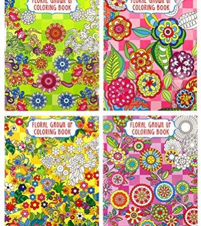 Adult Coloring Book Set – 4 Unique Floral Themed Books (Floral Set)