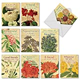 Assortment of 'Say it with Flowers' Greeting Cards with Envelopes (Boxed Set of 10), All Occasion Blank Note Cards (4 x 5.12 inch ) for Baby, Wedding, Thanksgiving M1710BN