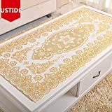 USTIDE Vinyl Tablecloth Gold Sequin PVC Table Cloth Eco-Friendly Waterproof Table Overlays Oblong Stain Resistant Table Runner 23.6'X47.2'