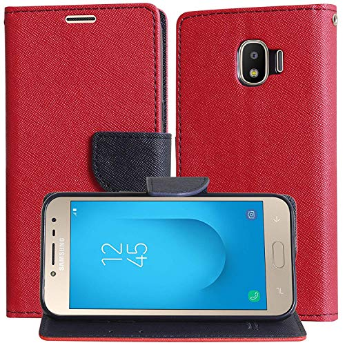 Explocart Premium Fancy Diary Wallet Flip Flap Cover Case for Samsung Galaxy J2 2018 [Magentic Lock/Stand View/Wallet Slots] (Red) 9