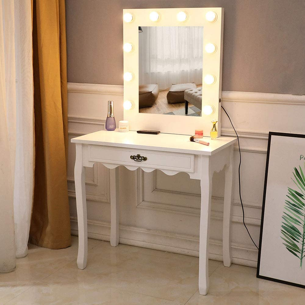 Amazon Com Led Vanity Makeup Table Makeup Dressing Table Vanity With 10 Light Bulbs And Large Drawer Vanity Beauty Station Bedroom Dressing Vanity Table For Girls Women Bedroom Vanity Dresser Warm White Kitchen Dining