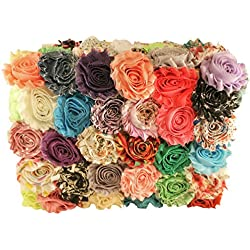 Fabric Flowers for Crafts - Bulk Fabric Flowers Pack of 50 Assorted Colors and Prints
