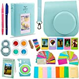 DNO Fujifilm Instax Mini 9/8 Camera Accessories (11 Piece Kit) - Includes Protective Case/Hanging Frames/Filters/Selfie Len/Photo Album/Stickers and More - Portable (Ice Blue)