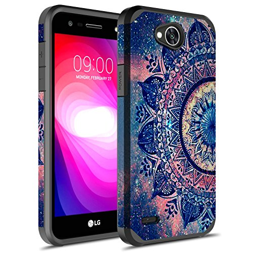 LG X Power 2 Case, LG Fiesta LTE Case, LG K10 Power Case, Rosebono Hybrid Dual Layer Shockproof Hard Cover Graphic Fashion Cute Colorful Silicone Skin Case for LG LV7 - Mandala