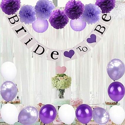 Amazon Com Bridal Shower Decorations Set Bride To Be Banner White Lavender Purple Big Size Tissue Paper Flower Pom Poms Latex Balloons For Lavender Purple Wedding Party Decor Bachelorette Party Toys Games