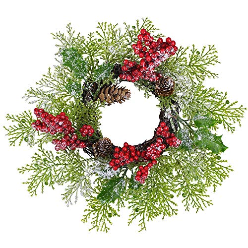 2 Pcs Artificial Snowy Cedar and Berry Candle Rings Christmas Candle Holder Rings Faux Cedar Twigs Wreath Mini Window Mirror Wreaths 12.6