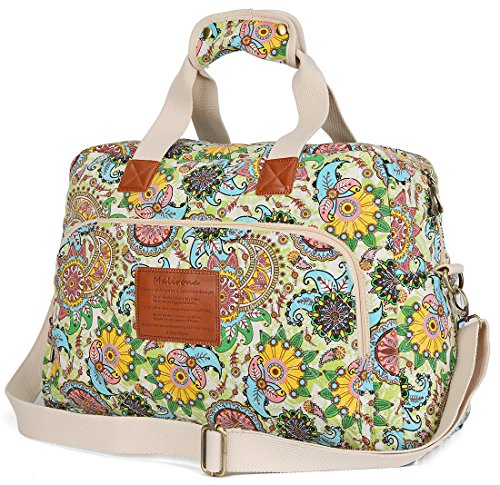 Malirona Canvas Overnight Bag Women Weekender Bag Carry On Travel Duffel  Bag Floral - Travel 35c829c6335e5