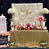 QueenDream Sequin Tablecloth 90x90-in Gold Overlay Sheer Table Cover Halloween Birthday Christmas