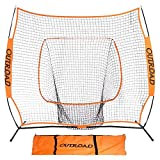 Outroad Baseball Nets Batting and Pitching 7 x 7 - Portable Practice Net with Bow Frame and Strike Zone Target - Portable and Removable Ball Holder Batting Practice with Carry Bag