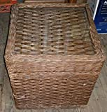 """Product review for Vintage 18"""" Square WICKER End Table Chest or Trunk w Glass Top & Leather Handles"""