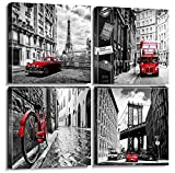 Wall Art Canvas Prints Home Decor Posters 4 Pieces Framed Black White Red Pictures Photos Painting City Buildings Homes Office Decorations Modern Artwork Living Room Bathroom Ready to Hang 12 × 12'
