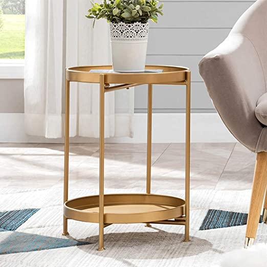 Amazon Com Small Round Table Metal Tray Side Table With Storage Gold Modern Nightstand For Living Room Bedroom14 Dx20 H Kitchen Dining