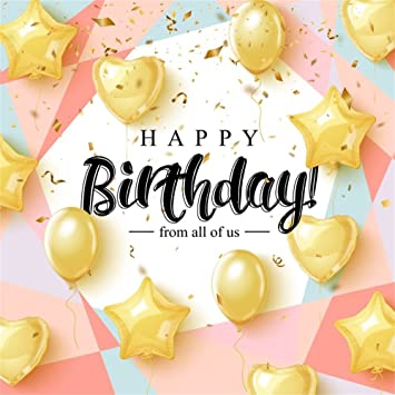 Amazon Com Lfeey 6x6ft Kids Happy Birthday Party Backdrop For Photos Girl Boy Birthday Celebration Wallpaper Banner Gold Balloons Confetti Cake Smash Pink Background Photo Studio Props Camera Photo