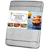 Ultra Cuisine 100% Stainless Steel Wire Cooling Rack for Baking fits Half Sheet Pans Cool Cookies, Cakes, Breads - Oven Safe for Cooking, Roasting, Grilling - Heavy Duty Commercial Quality