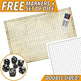 "RPG Battle Game Mat - Dry Erase Double sided 36"" x 24"" - Includes 4 Dry Erase Markers and 7pc Polyhedral Dice Set - Large Table Top Role Playing Map for Starters and Masters"