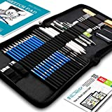 Drawing Pencils Art Supplies - 37 Sketching Art Set - Each Art Supply Includes Bonus Sketch Book and Digital Library Drawing Tutorials Cool Stuff - Pencil Pouch, Graphite Charcoal Pencils, Erasers