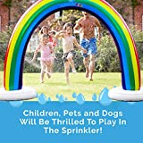Splashin'kids Outdoor Rainbow Sprinkler Super Toddler Water Toys for Children Infants Boys Girls and Kids Perfect Outside Inflatable Water Park for Summer Fun - Watch Video Slip and Slide