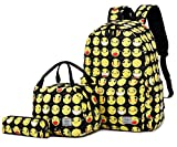 Abshoo Cute Lightweight Canvas Emoji School Backpacks Sets For Girls Boys Bookbags With Lunch Bag (Black Set)