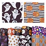 David accessories Halloween Pumpkin Candy Pattern Printed Faux Leather Sheets Fabric Non-woven Back 9Pcs 8' x 13' (20cm x 34cm) for Making Bags Crafting DIY Sewing Festival Decor (Halloween Pattern C)
