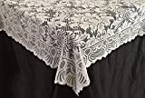 Goldstream Point White Lace Tablecloth Overlay Flowers 90 x 90 Inches Square
