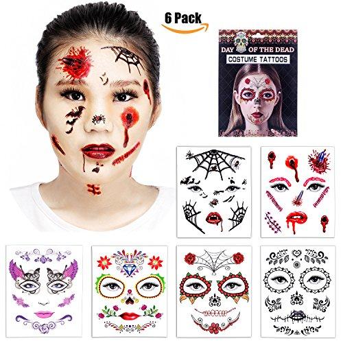 Halloween temporary face tattoos skull scar spider blood for Halloween temporary tattoos