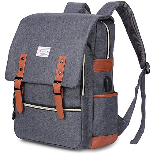 Modoker Vintage Laptop Backpack for Women Men,School College Backpack with USB Charging Port Fashion Backpack Fits 15 inch Notebook (Grey)